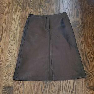 Lida Baday Leather Lamskin A-Line Skirt 8